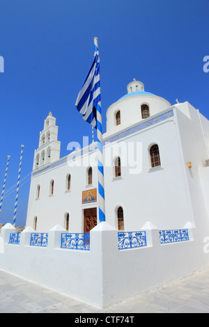 Church of Panagia of Platsani on Caldera Square in village Oia of Cyclades Island Santorini Greece - Stock Photo