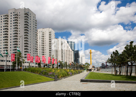 Apartment blocks at Boompjes, waterfront area of central Rotterdam, Netherlands - Stock Photo