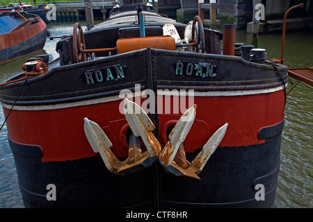 Bow anchor historic barge boat Roan Rotterdam Netherlands - Stock Photo