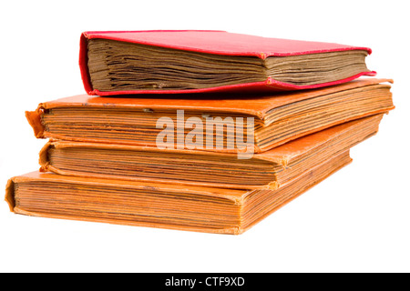 Pile of very old and grungy photo albums isolated on white. - Stock Photo