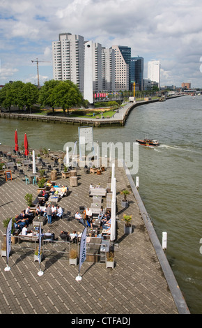 River Maas waterfront Leuvehaven entrance, Rotterdam, Netherlands - Stock Photo