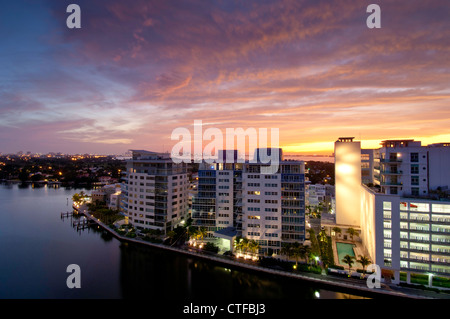 United States Of America, Florida, Miami Beach, new development along Indian Creek - Stock Photo