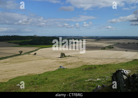 Harvest view over Bass Rock & Berwick Law, East Lothian Scotland, taken from Garleton hills - Stock Photo