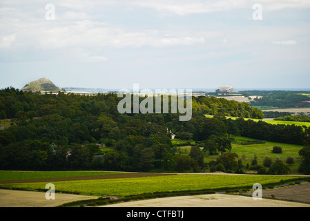 View over Bass Rock & Berwick Law, East Lothian Scotland, taken from Garleton hills - Stock Photo