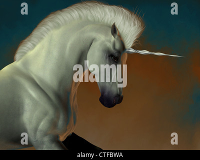 A white unicorn stallion of folklore prances showing his strength and power. - Stock Photo