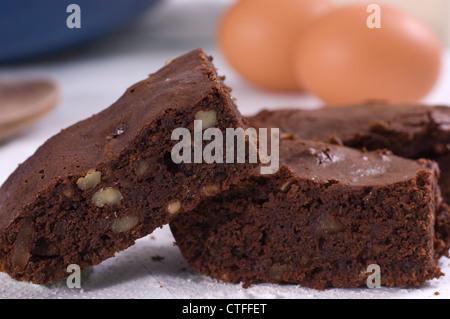 Pecan, Rum and Stem Ginger Chocolate Brownies - Stock Photo