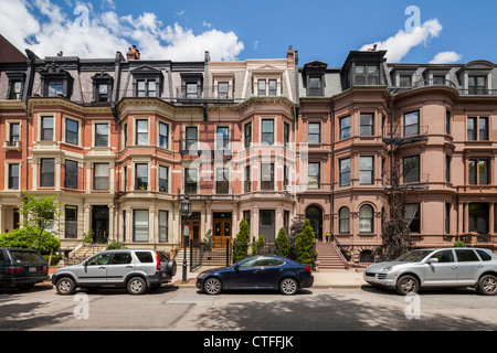 Commonwealth Avenue Victorian Houses, Boston - Stock Photo