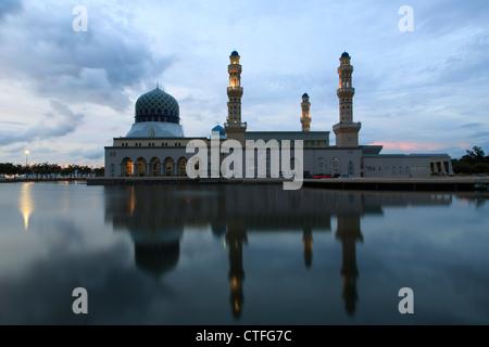 City mosque in Kota Kinabalu, Sabah, Borneo, Malaysia - Stock Photo