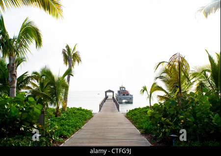 Caribbean West Indies St. Kitts and Nevis - Four Seasons Hotel and Resort on Nevis dock - Stock Photo