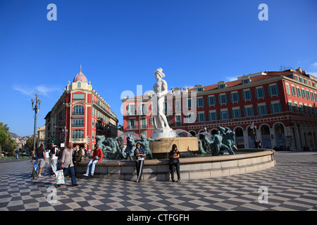 Fontaine du Soleil, Fountain of the sun, Place Massena, Nice, France, Europe - Stock Photo