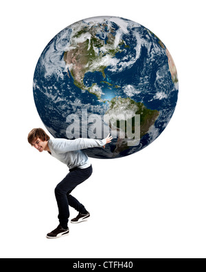 Handsome young man caring the planet earth on its backs, isolated on white - Stock Photo