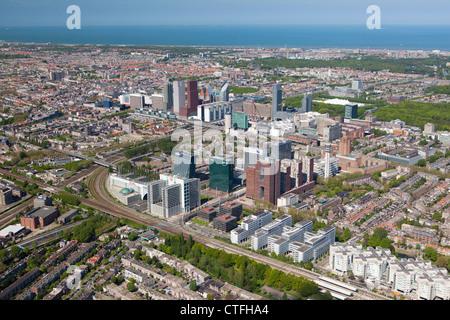 The Netherlands, Den Haag, The Hague, Aerial view of modern Den Haag. - Stock Photo