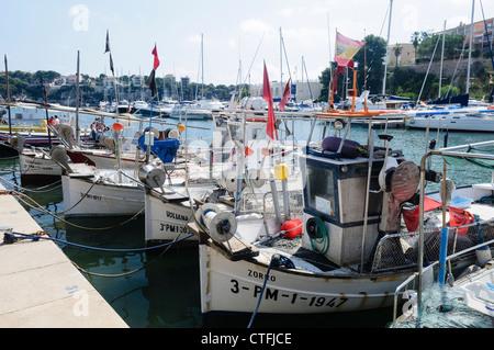 Fishing boats moored at Portochristo, Mallorca/Majorca - Stock Photo
