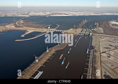 The Netherlands, Willemstad, Volkeraksluizen, Locks of Volkerak. Part of Delta Works. Aerial, winter, frost. - Stock Photo