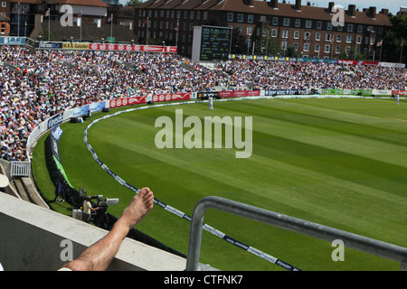 Crowd at Test match cricket at the Oval, London, UK. England versus South Africa. 2nd Test. 2012 - Stock Photo