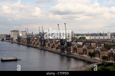 Royal Victoria Dock and Brittania Village from the Cable Cars - Stock Photo