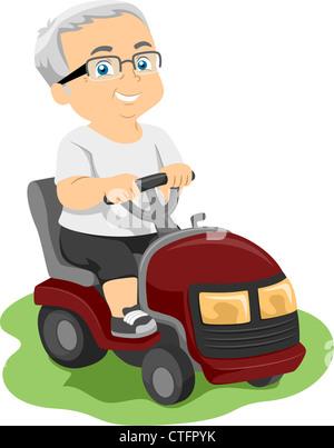 Illustration Featuring an Elderly Man Riding a Lawn Mower