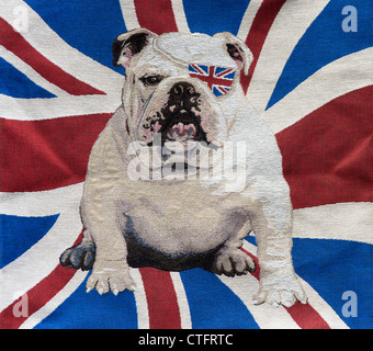 British bulldog wearing a union jack eye patch cushion cover - Stock Photo