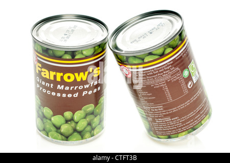 Two tins of Farrows giant Marrowfat processed peas - Stock Photo