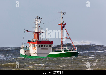 The Netherlands, IJmuiden, Storm. Boat in rough sea. - Stock Photo