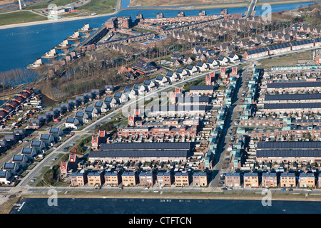 The Netherlands, Heerhugowaard, Aerial, District called City of the Sun, Dutch: Stad van de Zon. All houses with - Stock Photo