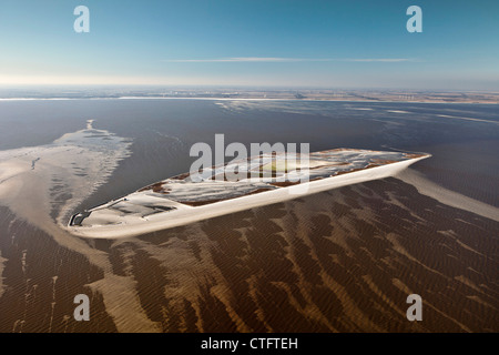 The Netherlands, Andijk, Artificial island called The Lame, Dutch Forestry Commission. Aerial. - Stock Photo