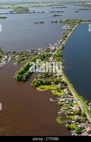 The Netherlands, Loosdrecht, Aerial. Houses near lake called Loosdrecht lakes - Stock Photo
