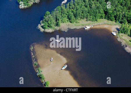 The Netherlands, Loosdrecht, Aerial. Boats in lake called Loosdrecht lakes. - Stock Photo