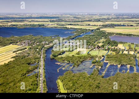 The Netherlands, Kortenhoef, Lake called Loosdrecht. Aerial. - Stock Photo