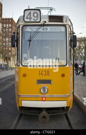49 tram in Budapest, Hungary - Stock Photo