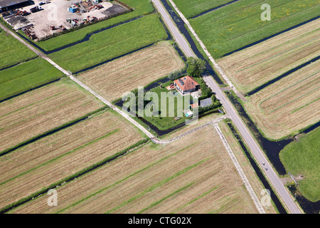 The Netherlands, Broek in Waterland, Farm. Aerial. - Stock Photo