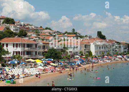 ISTANBUL, TURKEY. A view of Kinaliada, one of the Princes' Islands (Kizil Adalar) in the Sea of Marmara. 2012. - Stock Photo