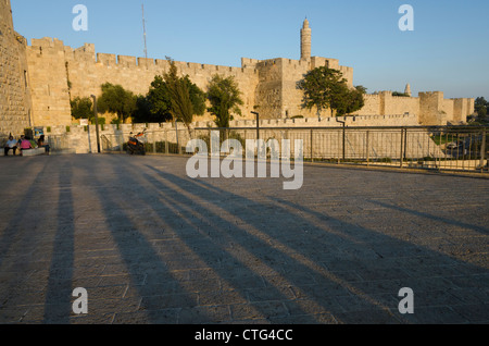 Citadel of David and city walls seen from Jaffa Gate with long shadows in foreground. Jerusalem Old City. israel. - Stock Photo