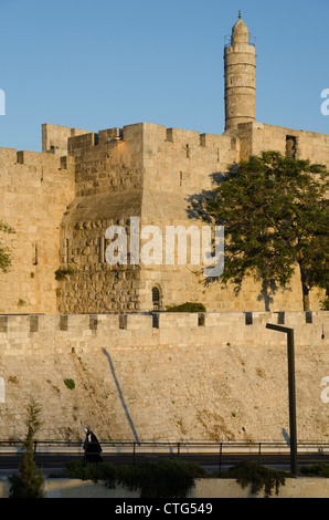 David Citadel. View with woman walking up the ramp. Jerusalem Old City. Israel. - Stock Photo