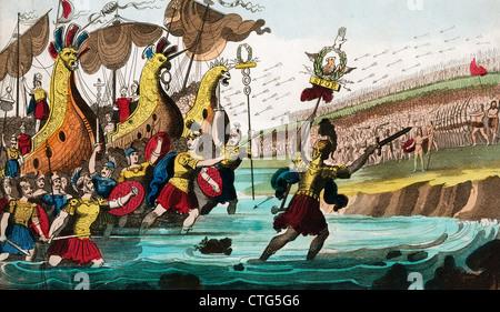 JULIUS CAESAR AND ROMAN TROOP SHIPS LANDING IN GREAT BRITAIN 55 B.C. - Stock Photo