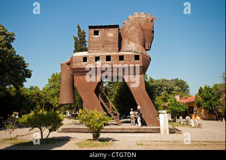 Trojan Horse in Troy ancient city Çanakkale Turkey - Stock Photo