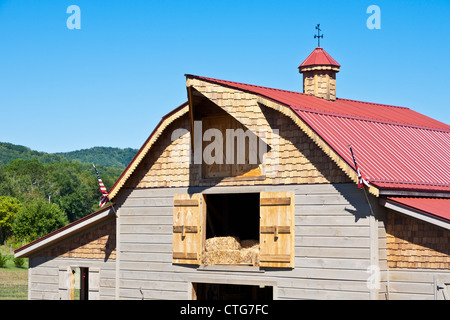 Hay loft of red roof barn on rural farm near Franklin, North Carolina - Stock Photo
