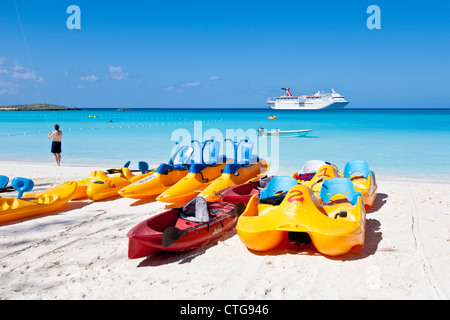 Pedal boat rentals on beach at Half Moon Cay, Bahamas - Stock Photo