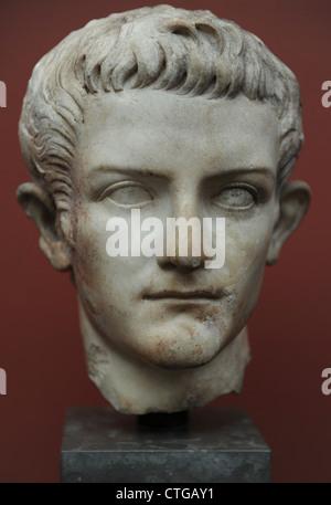 Caligula, Gaius Julius Caesar (12-41). Roman Emperor (37-41). Bust. Marble. Carlsberg Glyptotek Museum. Copenhagen. - Stock Photo