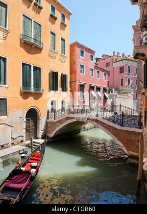 Side Canal off the Grand Canal Venice Italy - Stock Photo