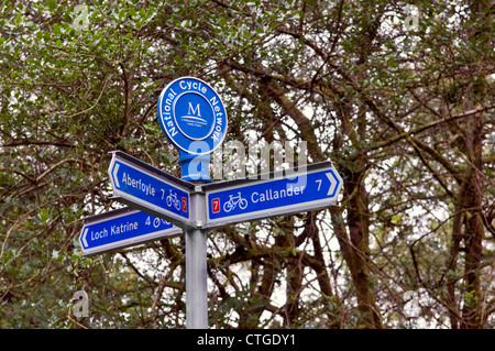 National cycle network signpost at Achray Forest area near Aberfoyle , The Trossachs Scotland - Stock Photo