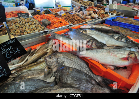 Fresh fish and seafood on display at indoor fish market in the port of Le Tréport, Upper Normandy, France - Stock Photo