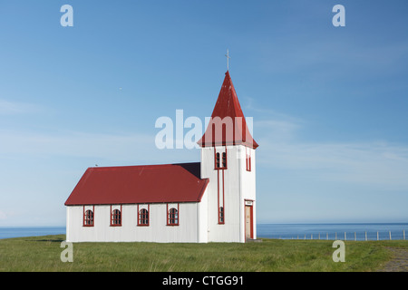 Old small wooden church in Hellnar, Snaefellsnes peninsula, Iceland - Stock Photo