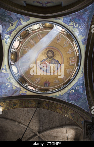 Christ Pantocrator mosaic in a dome of the Church of the Holy Sepulchre, Jerusalem, Israel - Stock Photo