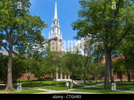 The Memorial Church in Harvard Yard, Harvard University, Cambridge, Boston, Massachusetts, USA - Stock Photo