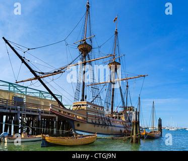 The Mayflower II, a replica of the original Mayflower, State Pier, Plymouth, Massachusetts, USA - Stock Photo