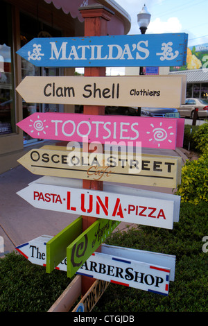 Stuart Florida SW Osceola Street shopping business district directional signs - Stock Photo