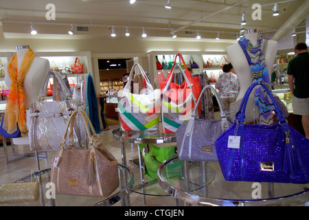 Stuart Florida SW Osceola Street shopping business district woman's handbags retail display fashion - Stock Photo
