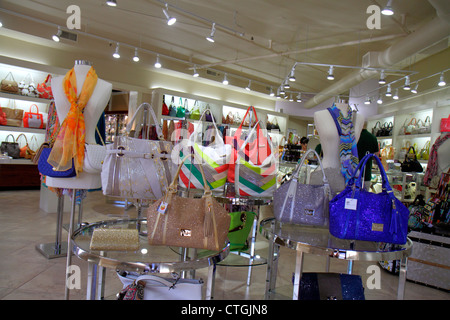 Stuart Florida SW Osceola Street shopping business district woman's handbags retail display fashion accessories - Stock Photo