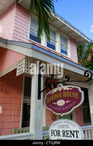 Stuart Florida SW Osceola Street shopping business district built 1915 Old Florida style Harbor House units apartments - Stock Photo